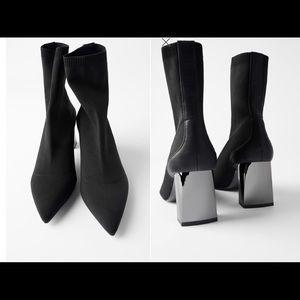 Zara metallic heels sock style knit ankle boots
